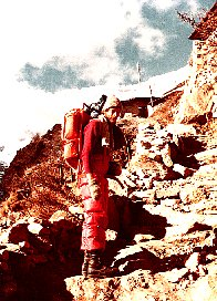 1979 Nepal, leaving Namche Bazar