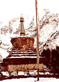 1979 Nepal, shrine before Tyangboche Monastery